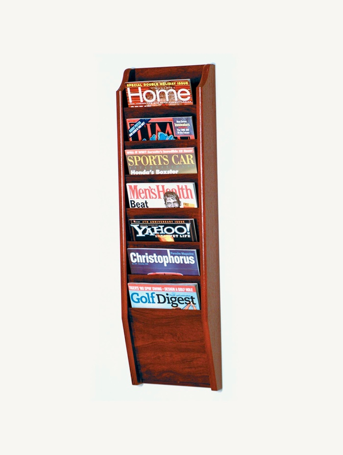7-Pocket-Wall-Magazine-Rack-Wooden-Dark-Tall-Mountable-Wall-Hung