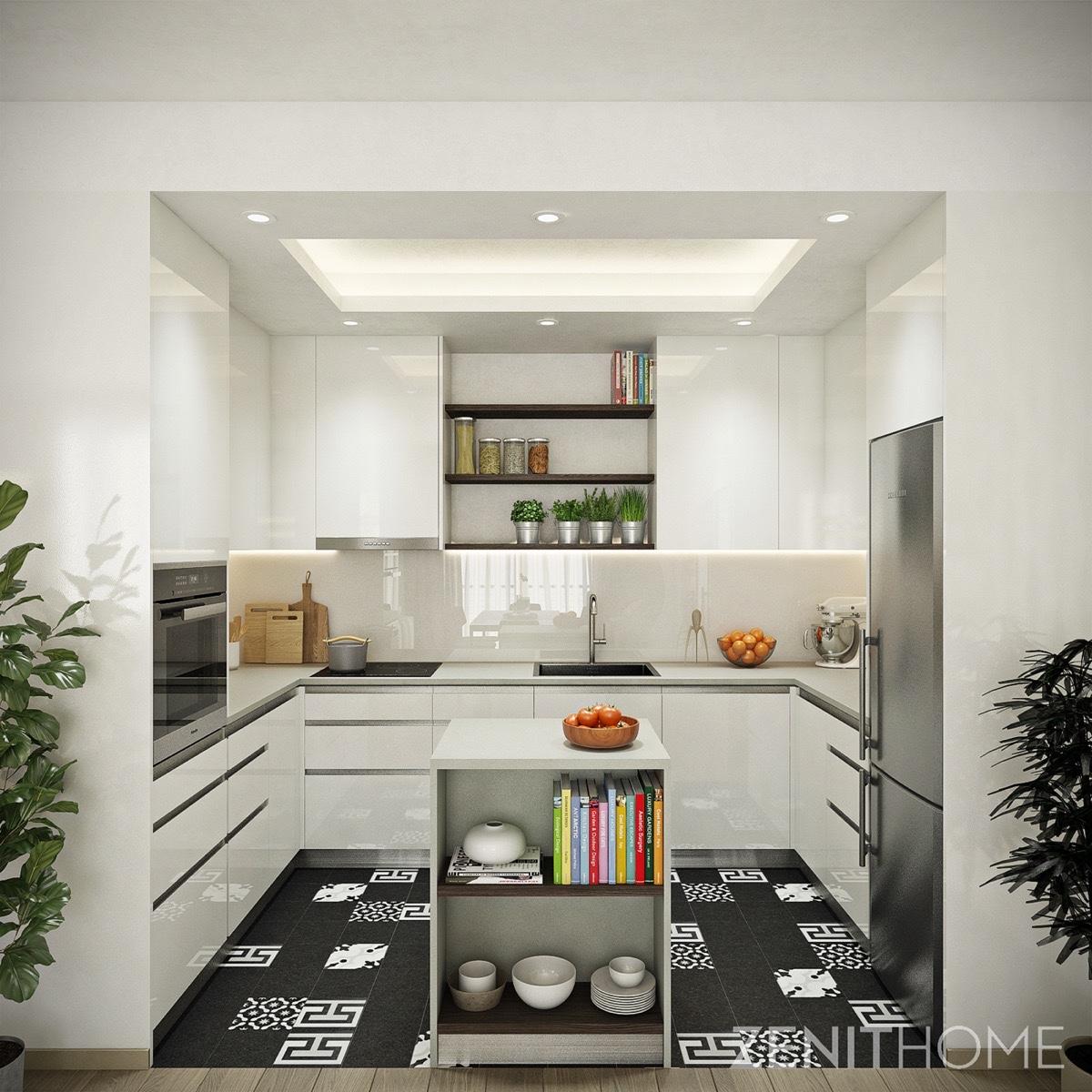 70s-Scandinavian-kitchen-cube-design-silver-and-black-tiled-floor