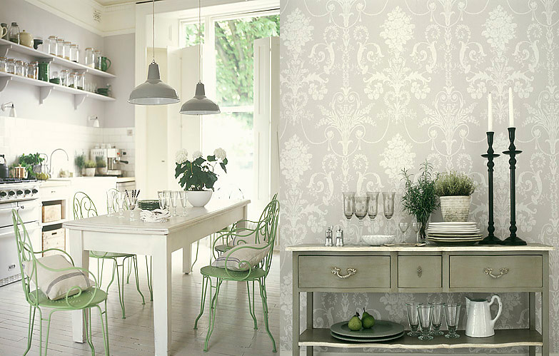 Antique-White-kitchen-with-jacquard-wallpaper