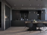 Bachelor-kitchen-all-black-cabinetry-minimal-wooden-dining-table-black-sleek-chairs-1