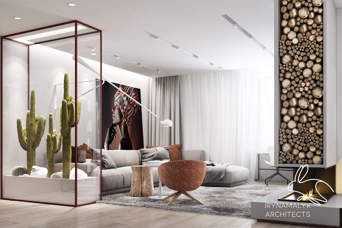 Beautiful-Living-Room-With-Fireplace-Desert-Cactus-Indoor-Decor-African-Woman-Painting
