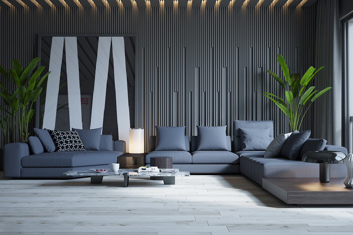 Beautiful-Monochrome-Living-Rooms-With-Sectional-And-Black-And-White-Wall-Art