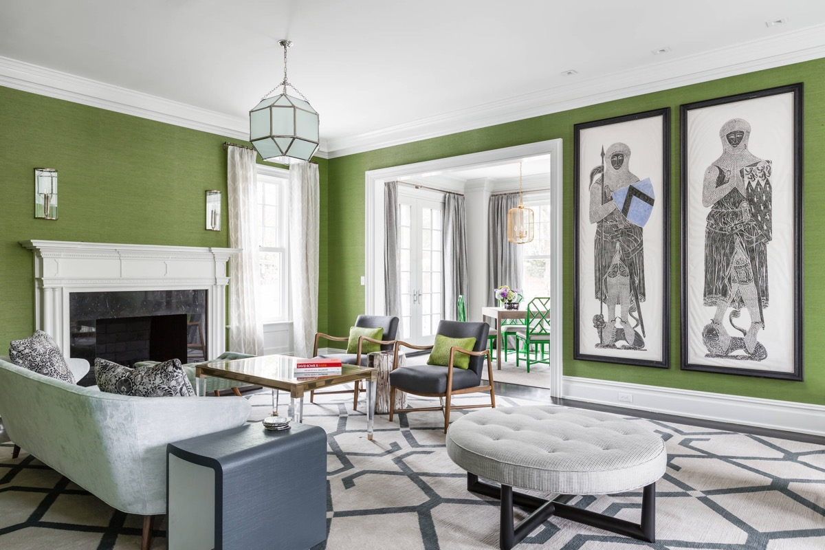 Bespoke-Green-Living-Room-with-Marble-Fireplace