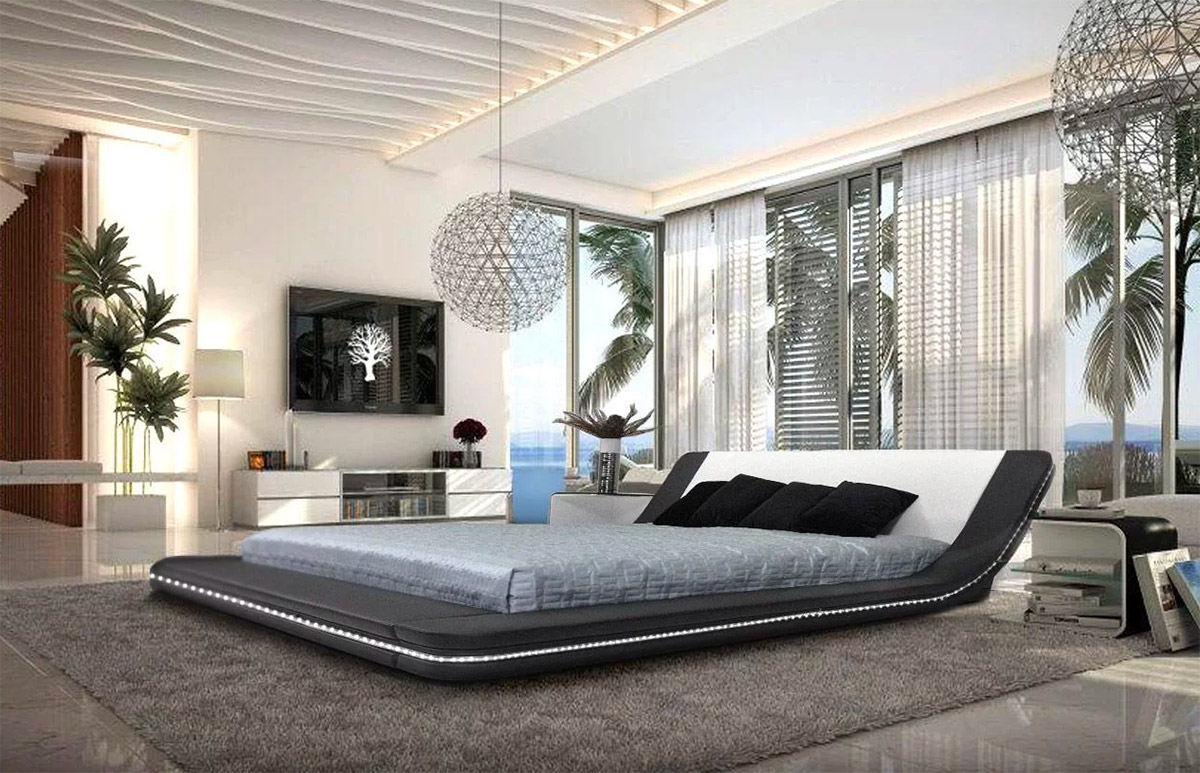 Big-Upholstered-Platform-Bed-With-Curving-Headboard-Black-With-Built-In-Lighting