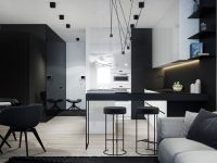 Black-and-white-stencilled-kitchen-thin-magnetic-hanging-lights-wide-panelling