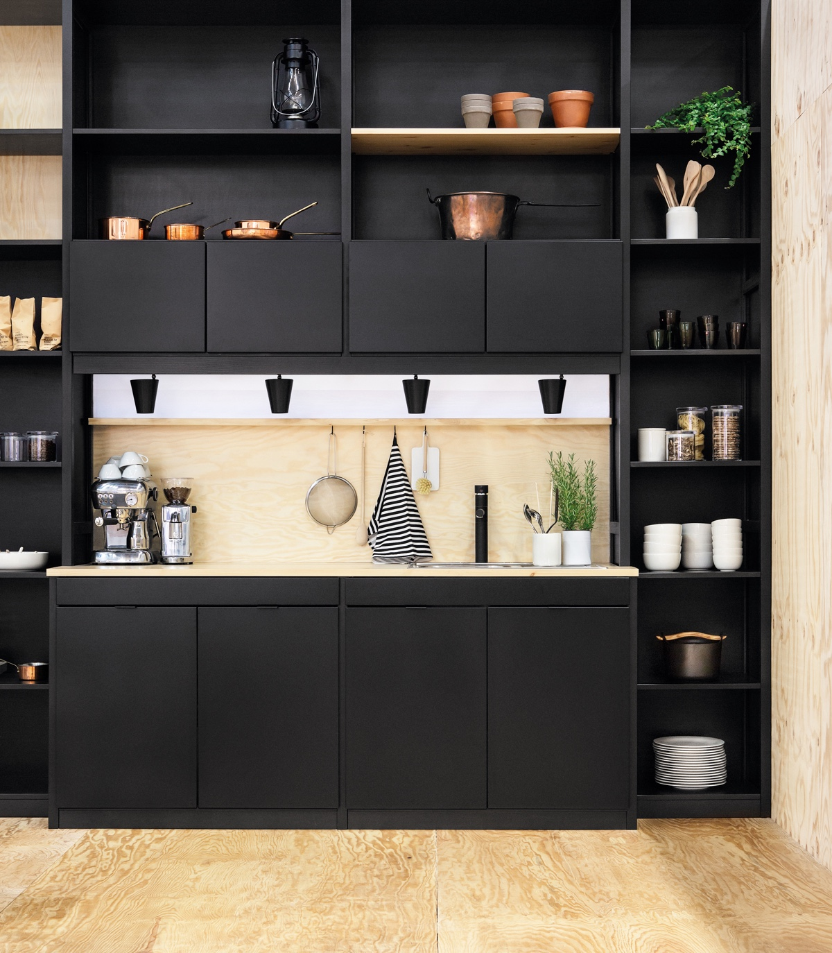 Black-bookcase-kitchen-compartmentalised-elements