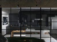 Black-framed-kitchen-block-square-windows-all-black-cabinetry