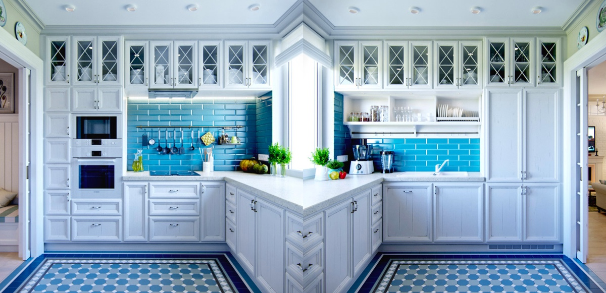 Blue-kitchen-backsplash