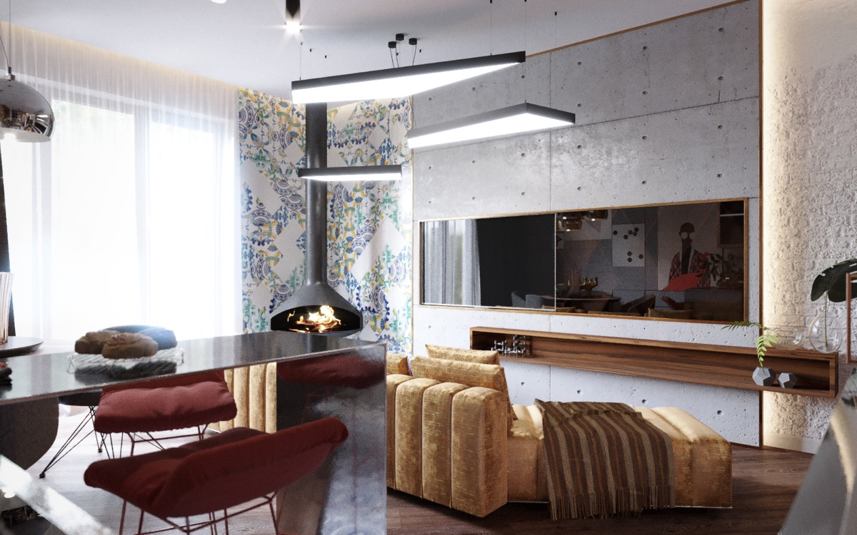 Ceiling-mounted-fireplace