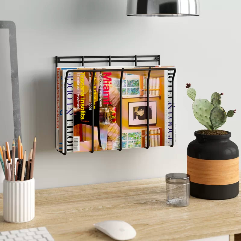 Cheap-Black-Wall-Mount-Wire-Magazine-Rack-Simple-Minimalist-Office-Organization-Solution
