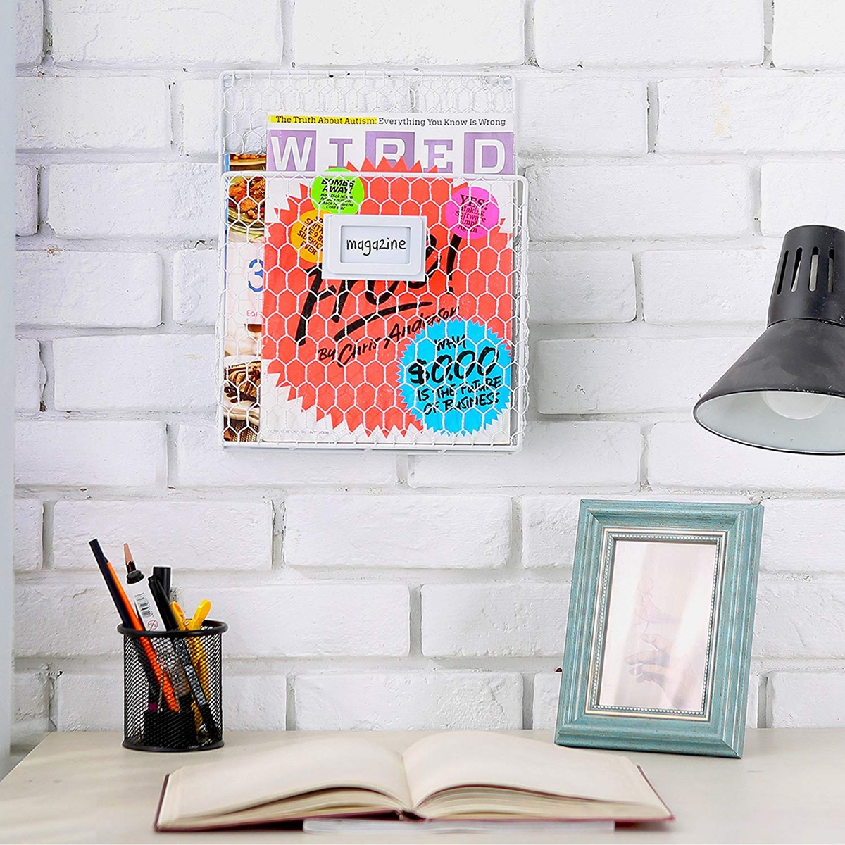 Chicken-Wire-Wall-Mounted-Metal-Magazine-Rack-Farmhouse-Inspired-Office-Decor