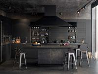 Chrome-features-kitchen-all-black-panelling-concrete-floor
