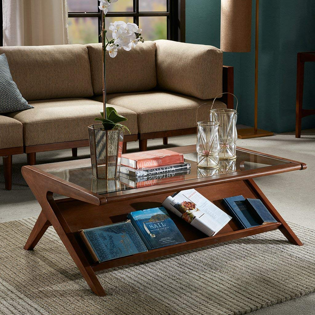Coffee-Table-With-Magazine-Display-Rack-And-Glass-Top-Dark-Wood-Finish