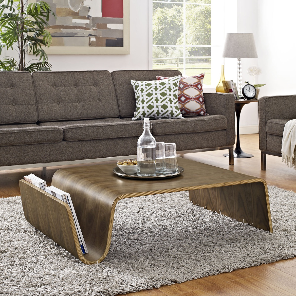 Coffee-Table-With-Magazine-Rack-Mid-Century-Modern-Walnut-Finish-Low-Furniture