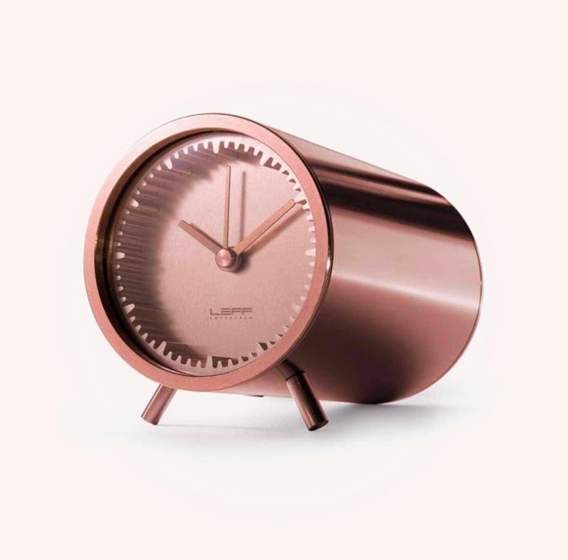 Copper-Finish-Mid-Century-Modern-Style-Clock-Chunky-Silent