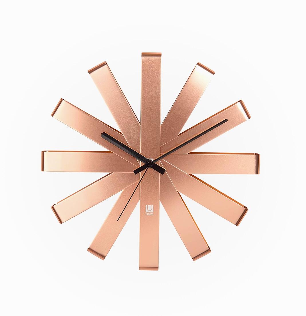 Copper-Wall-Clock-Modern-Starburst-Black-Hands-Umbra-Amazon