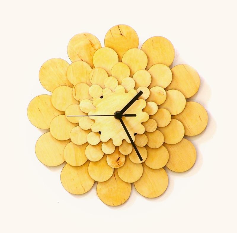 Dahlia-Wooden-Wall-Clock-Layered-Flower-Laser-Cut-Wall-Decor