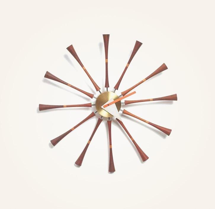 Dark-Wood-Spindle-Wall-Clock-Nelson-Design-Triangle-Hand-Unusual-Shape