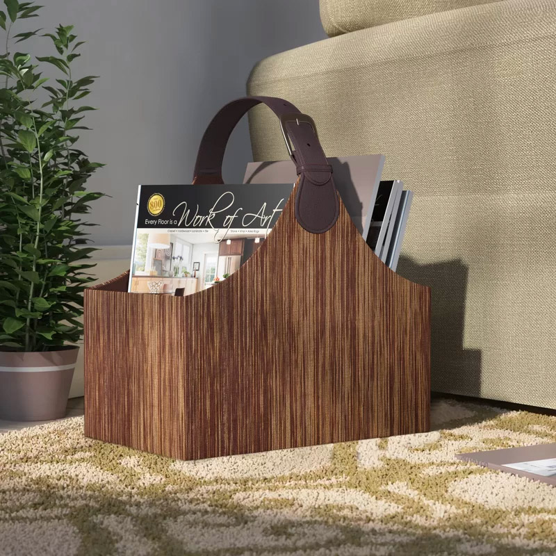 Faux-Leather-Wooden-Look-Magazine-Holder-With-Buckle-Handle-Affordable-Luxury-Bargain