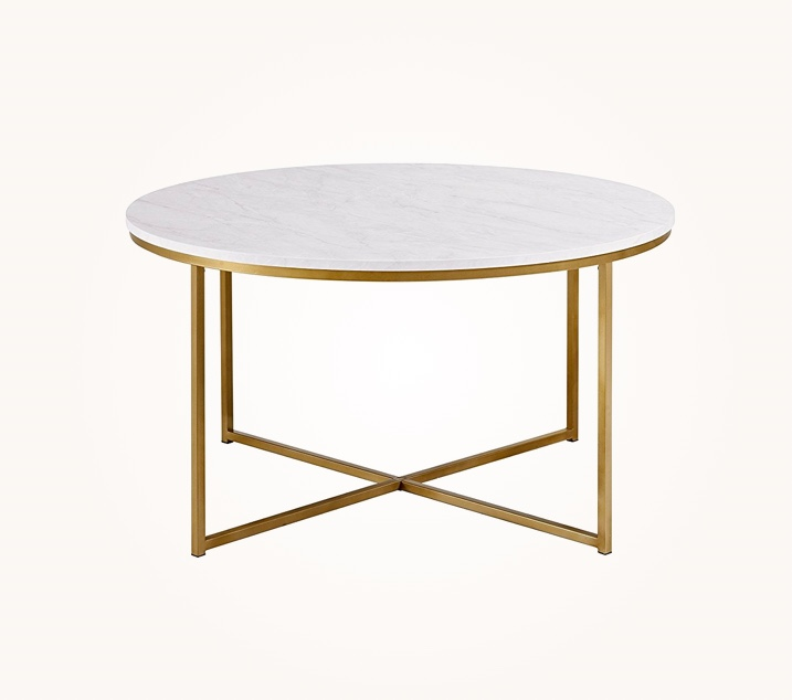 Faux-White-Marble-Round-Coffee-Table-with-Gold-Legs