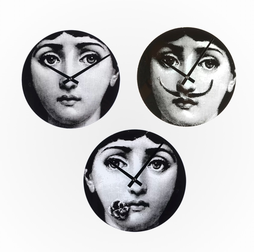 Fornasetti-Plates-Inspired-Wall-Clocks-Black-And-White-Girl-Whimsical