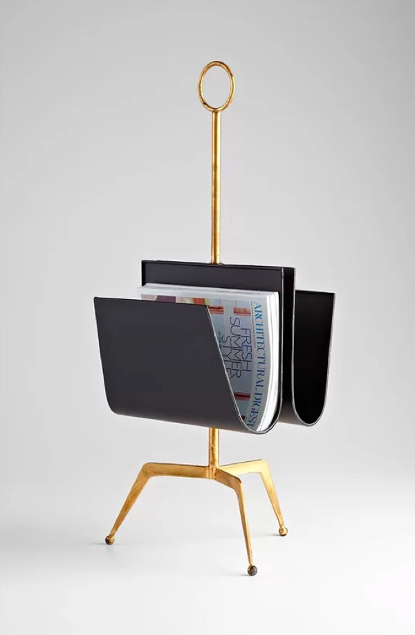 Free-Standing-Leather-Gold-Finish-Twin-Magazine-Holder-Tripod-Legs