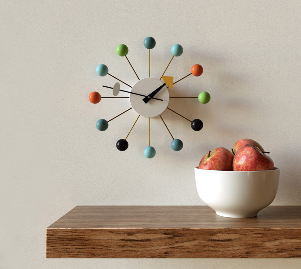 George-Nelson-Mid-Century-Modern-Green-Ball-Clock-Colorful-Wall-Art