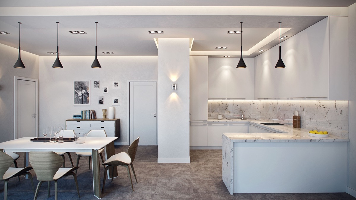 German-inspired-hanging-light-marble-kitchen