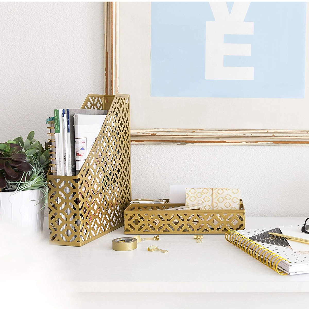 Gold-Finish-Magazine-Rack-Desk-Organizer-Set-Caddy-Pencil-Holder-File-Holder