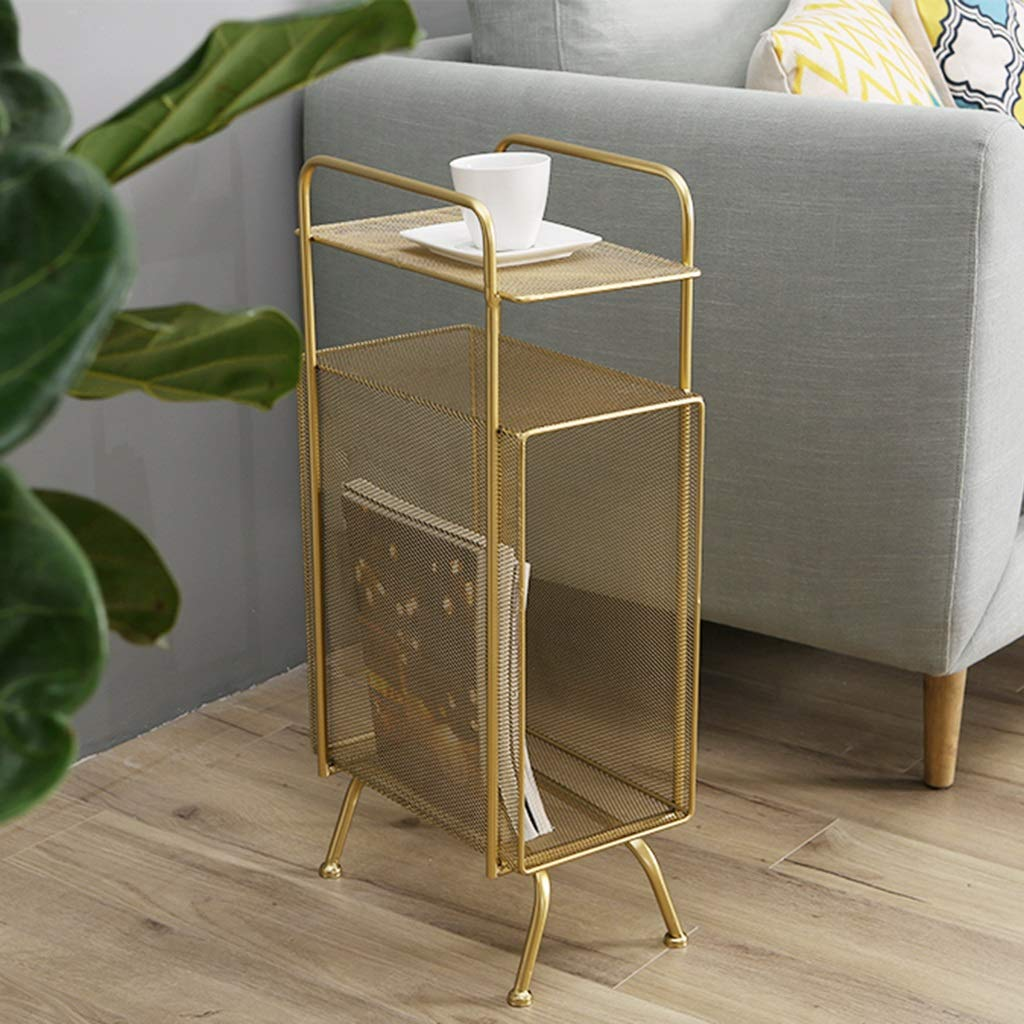 Gold-Narrow-Side-Table-With-Meshed-Magazine-Rack-Botton-Metal-Furniture-Decor-Modern