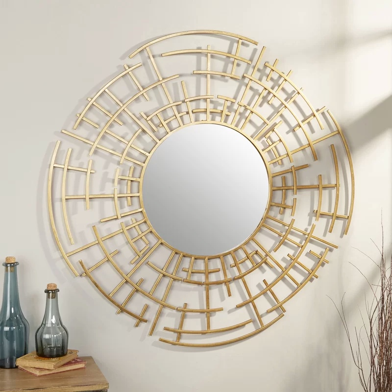 Gold-Oriental-Modern-Accent-Mirror-Decorative-Bathroom-Mirror-Round