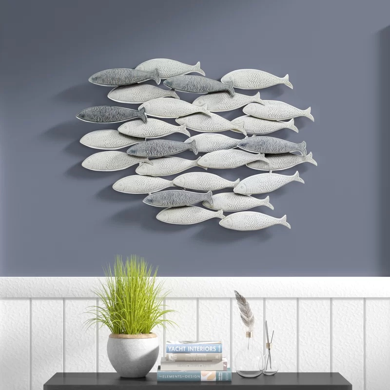 Gray-And-White-Metal-Fish-Wall-Decor-Patterned-Fish-Home-Decor