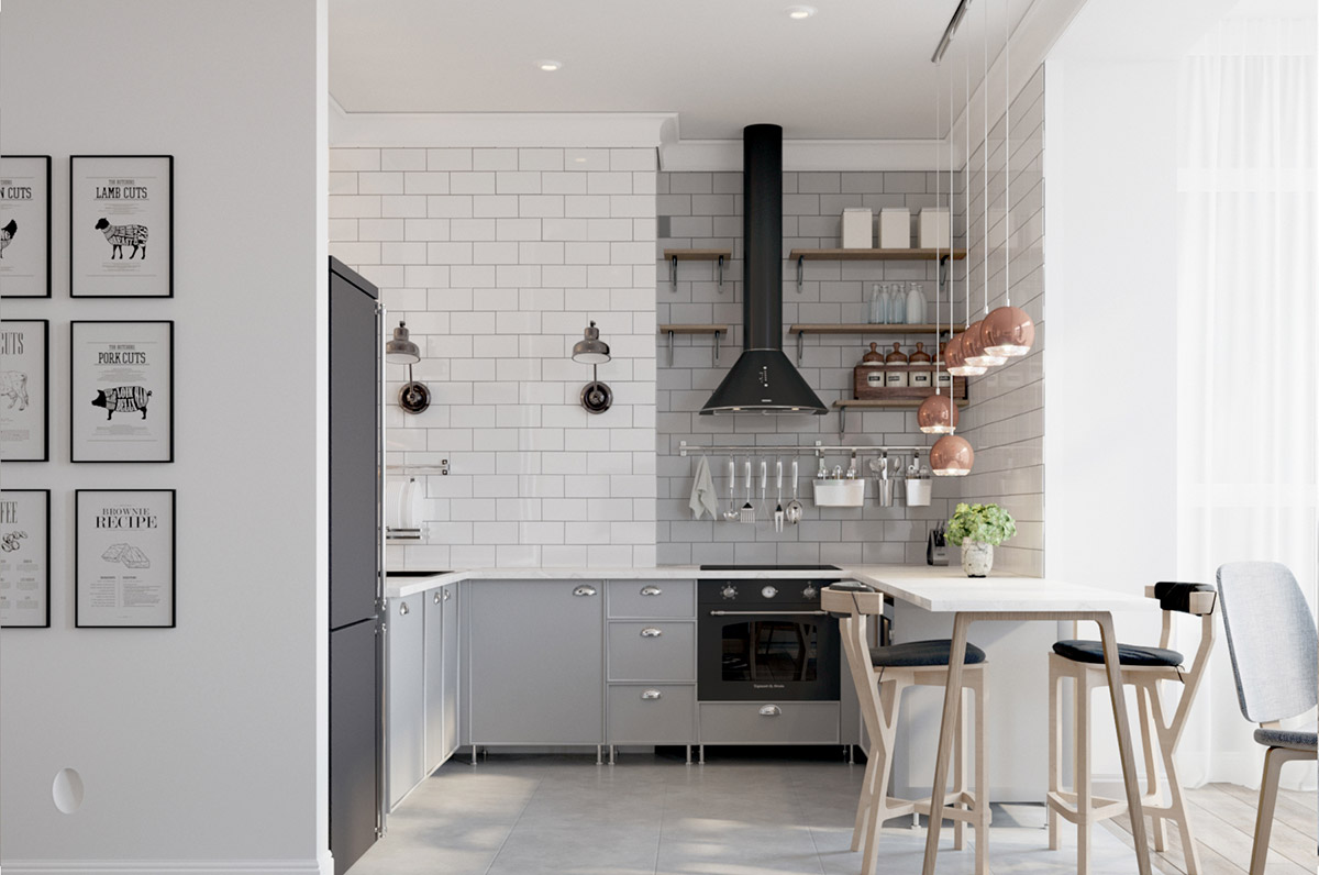 Grey-u-shaped-kitchen-with-breakfast-bar