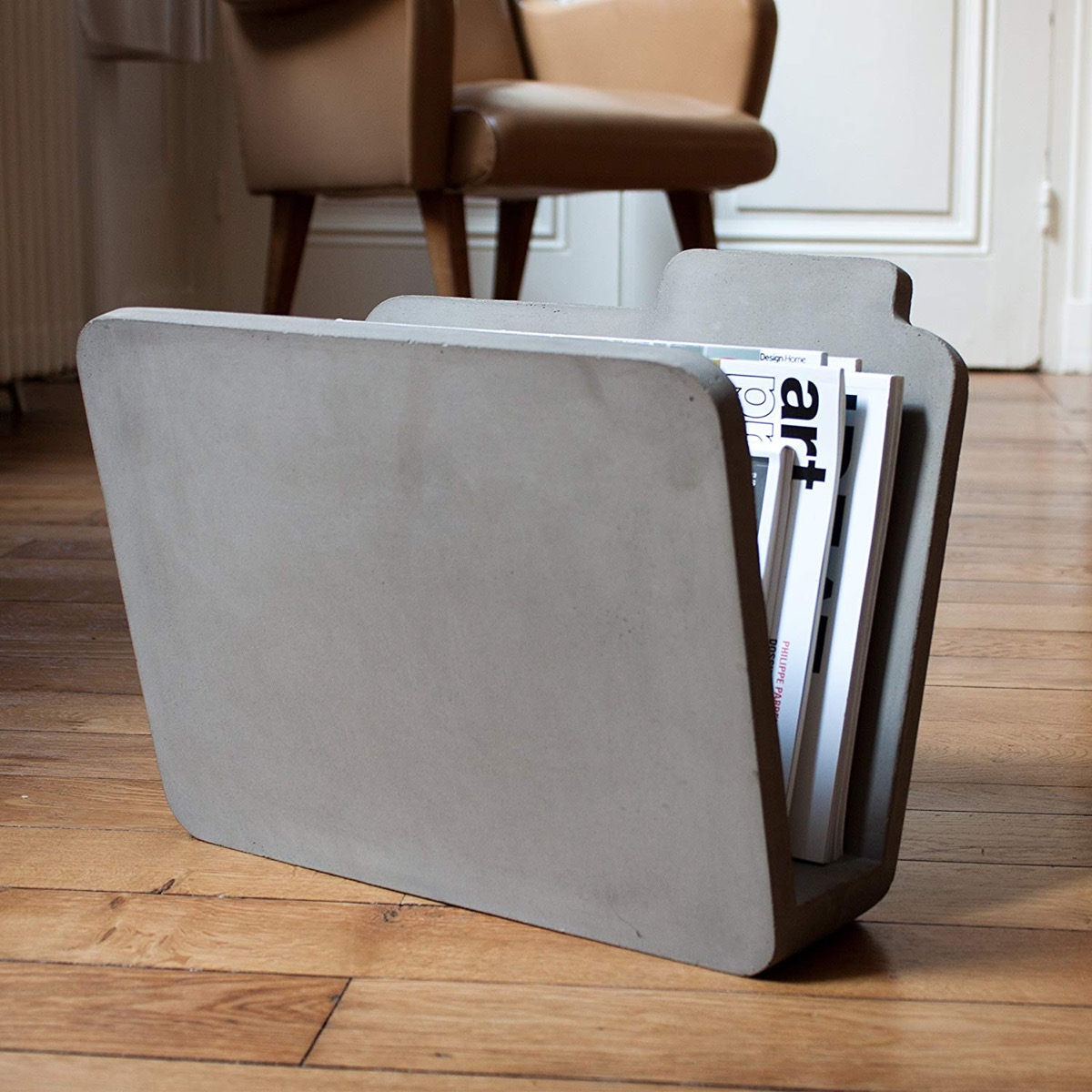 Industrial-Concrete-Magazine-Holder-Modern-Home-Decor-Gray-Newspaper-Holder