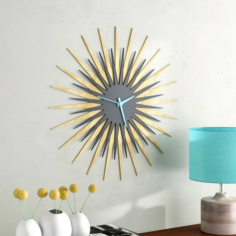 Large-Grey-And-Wood-Sunburst-Style-Wall-Clock-Easy-To-Read