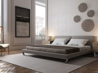 Large-Grey-Platform-Bed-With-Chrome-Base-And-Curved-Legs-Low-Contemporary-Bed-Frame