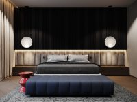 Luxury-Bedroom-Navy-Blue-Decorating-Ideas-Oversized-Headboard