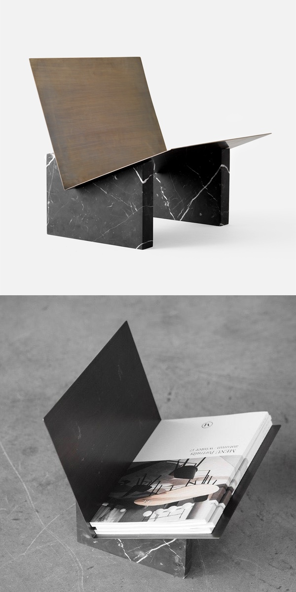 Luxury-Magazine-Holder-Made-Of-Black-Marble-and-Brass-Floor-Free-Standing-Low-Wide