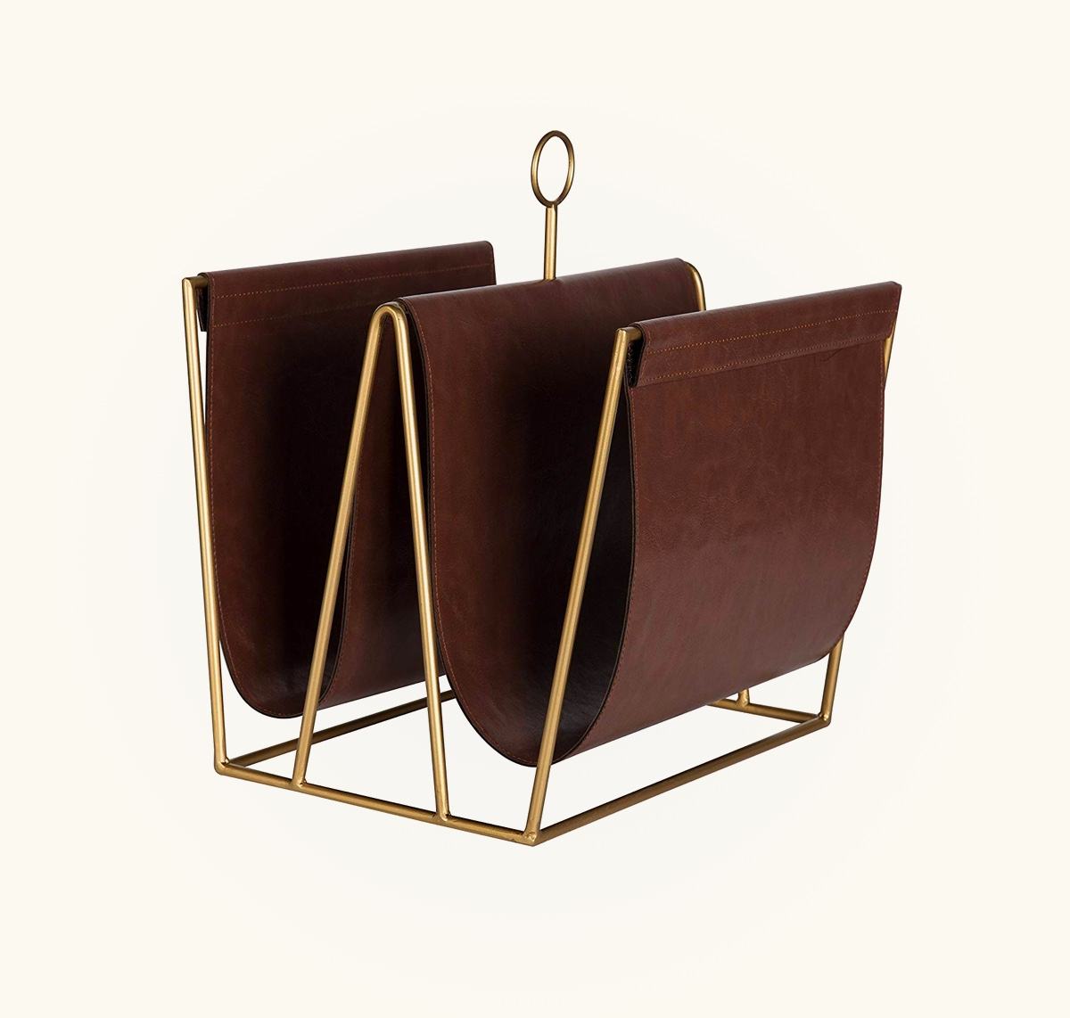 Metal-Faux-Leather-Magazine-Holder-Gold-And-Brown-Masculine-Home-Office-Decor