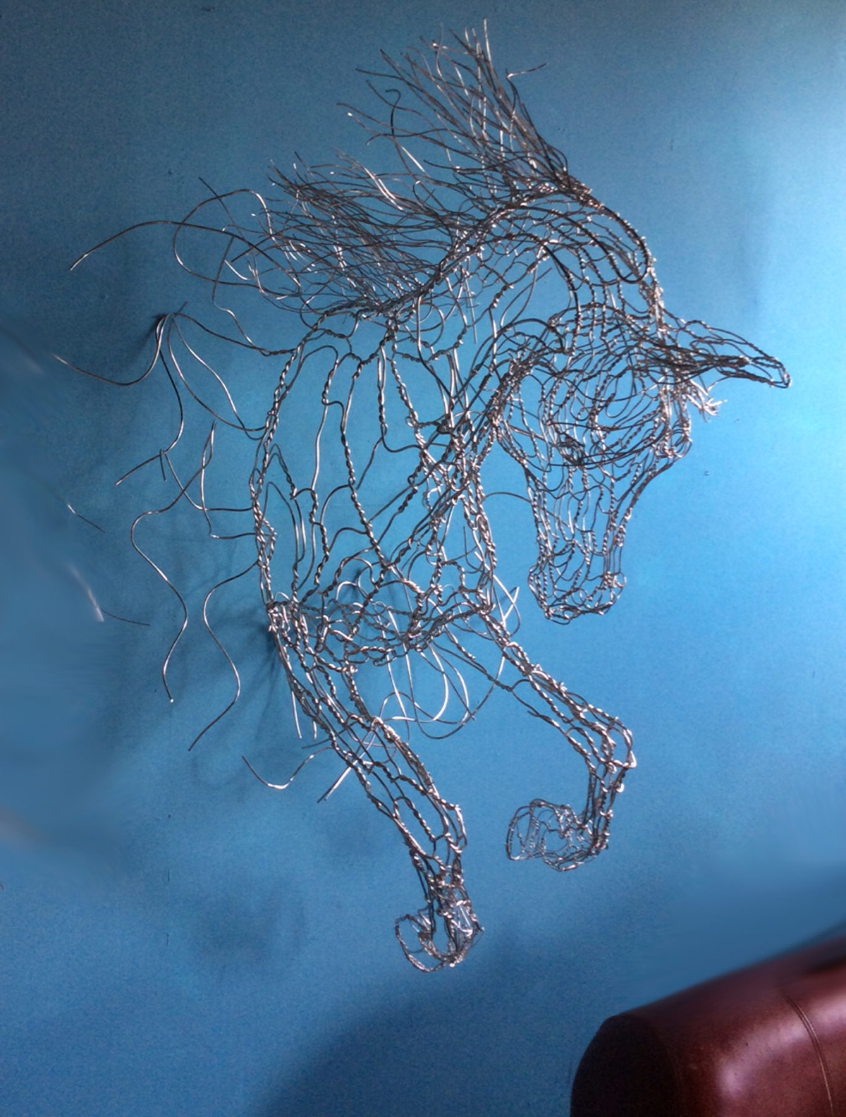 Metal-Wire-Horse-Sculture-3D-Metal-Wall-Art-Equestrian-Decor
