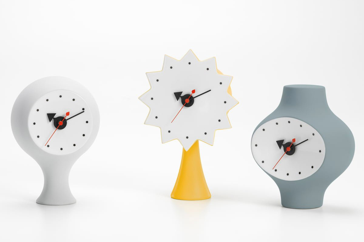 Mid-Century-Modern-Ceramic-Desk-Clock-By-George-Nelson-Vitra-Collection-Fun-Edgy-Bright-1