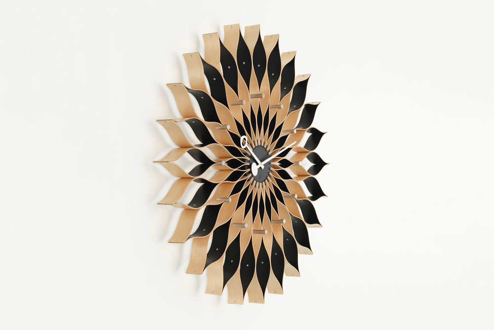 Mid-Century-Modern-Flower-Wall-Clock-Sunflower-Clock-Wood-And-Black