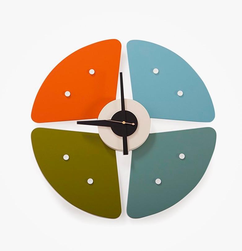 Mid-Century-Modern-Petal-Wall-Clock-Blue-Orange-Green-Black-Hands