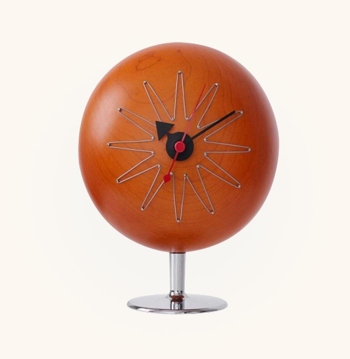 Mid-Century-Modern-Pill-Desk-Clock-Wood-Face-Unusual-Shape