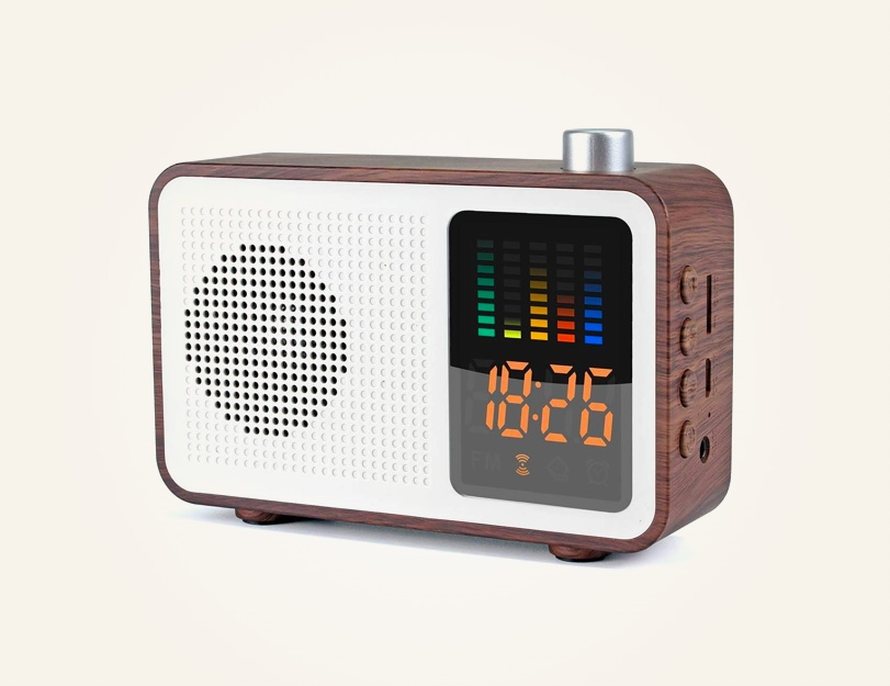Mid-Century-Modern-Style-Retro-FM-Radio-Clock-With-Bluetooth