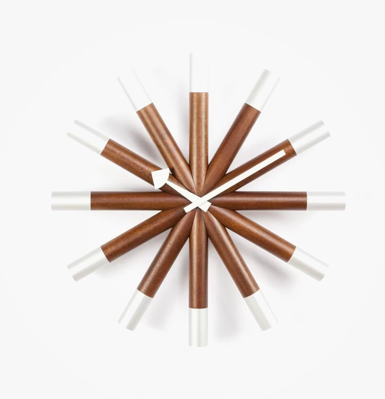 Mid-Century-Modern-Style-Wall-Clock-Nelson-Wheel-Clock-Brown-And-White
