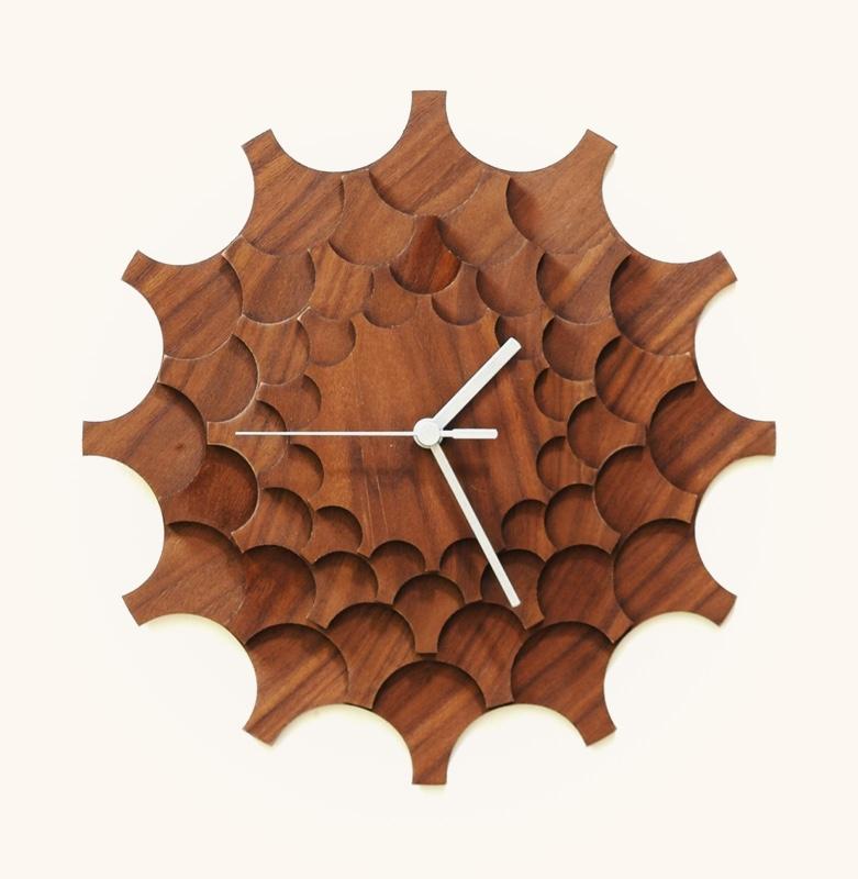 Mid-Century-Modern-Walnut-Wall-Clock-Cogwheel-Patterned