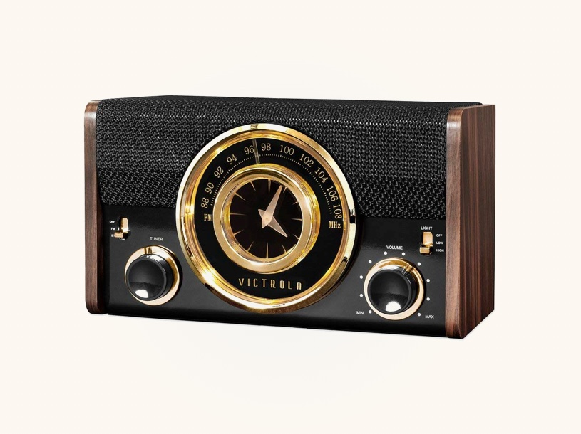 Mid-Century-Style-Bluetooth-Speaker-Radio-Clock-With-Golden-Accents