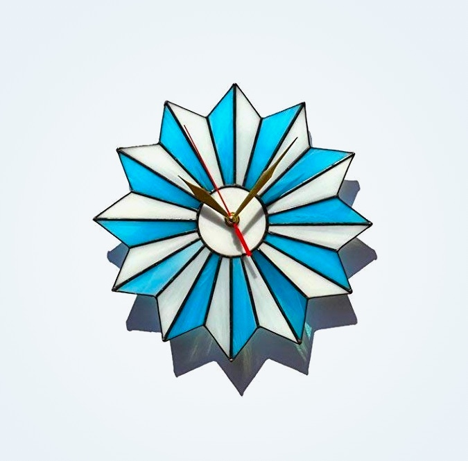 Mid-Century-Style-Stained-Glass-Starburst-Wall-Clock-White-And-Blue