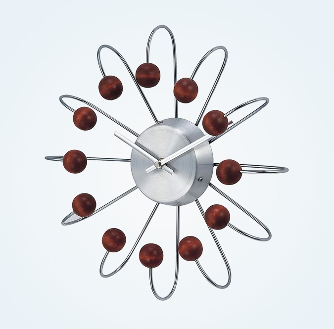 Mid-Century-Style-Wood-And-Metal-Clock-Atomic-Design-Classic